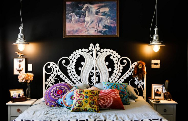 Queen Peacock Bed Head White headboard