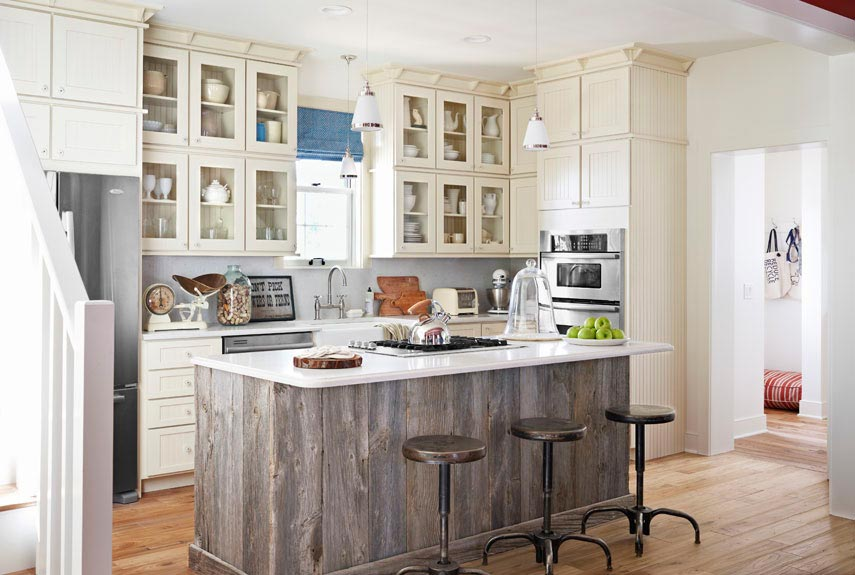 Charming Reclaimed Wood Kitchen Island Design
