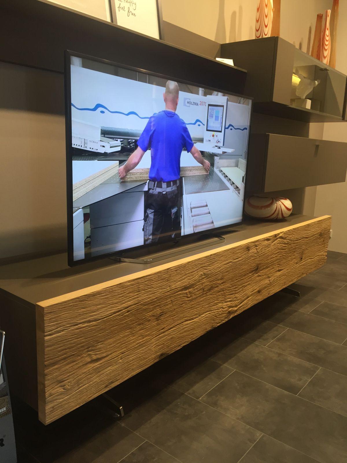 Reclaimed wood media tv facade