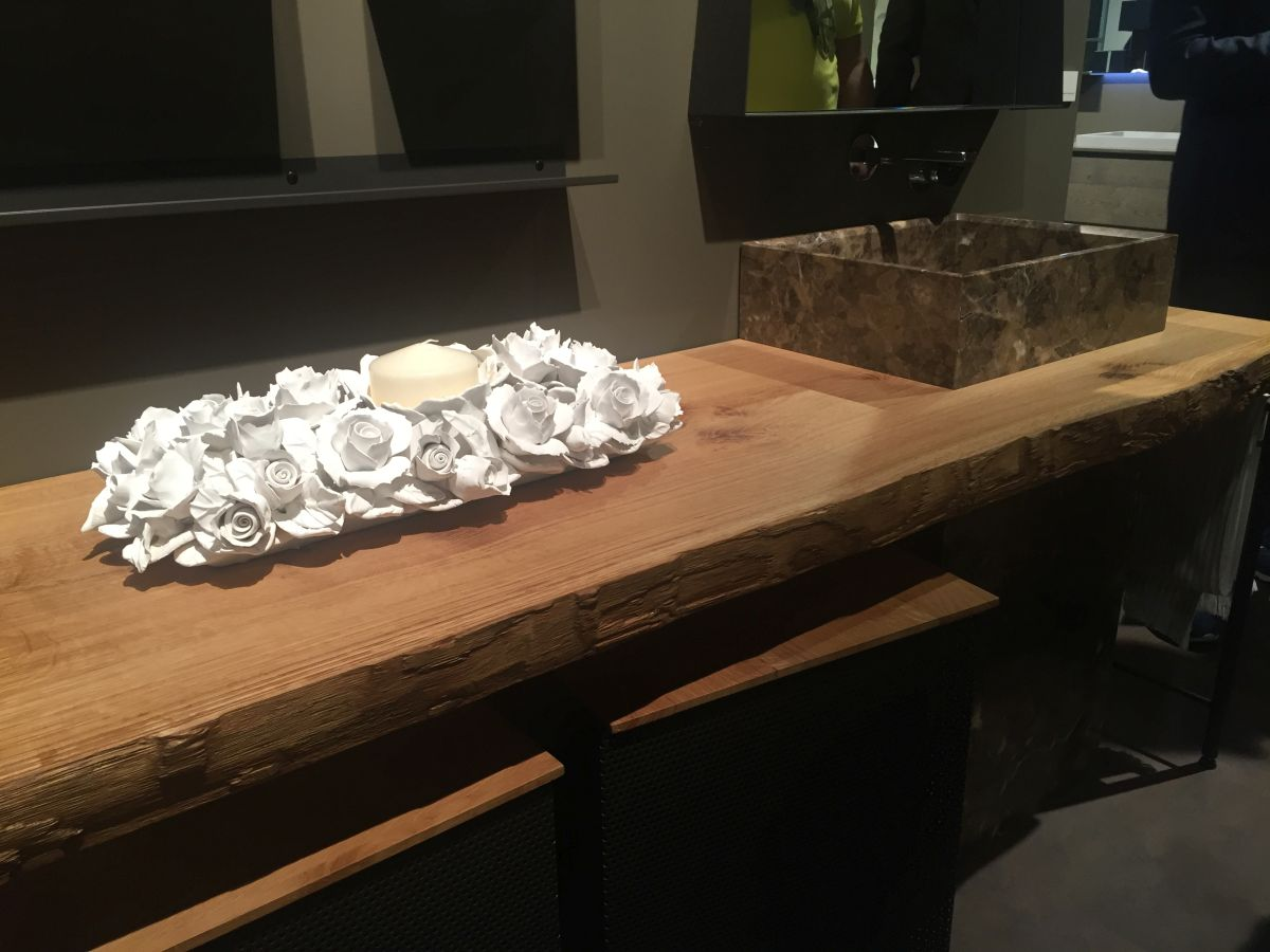 Reclaimed wood slab for countertop