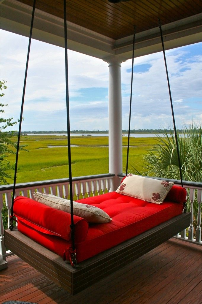 Red hanging porch bed Outdoor Porch Beds
