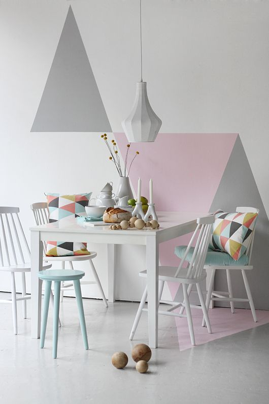 Romantic geometric pastel paint