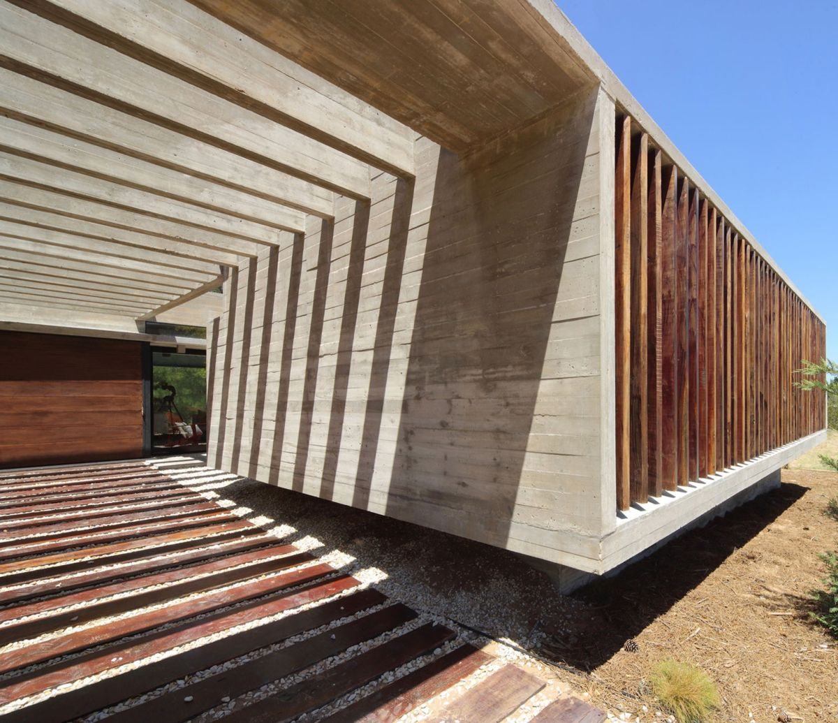 S & S House in Argentina play of shadows on pergola