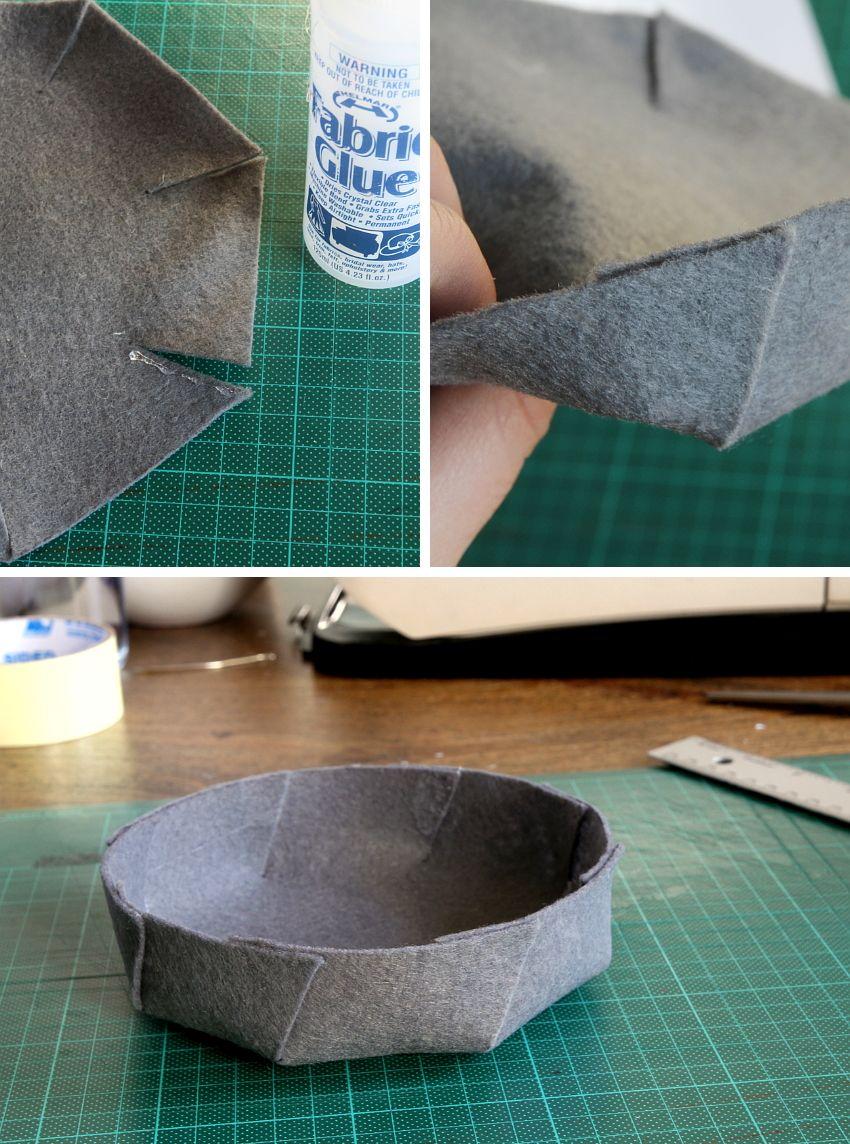 Simple Folded Felt Bowls cutting
