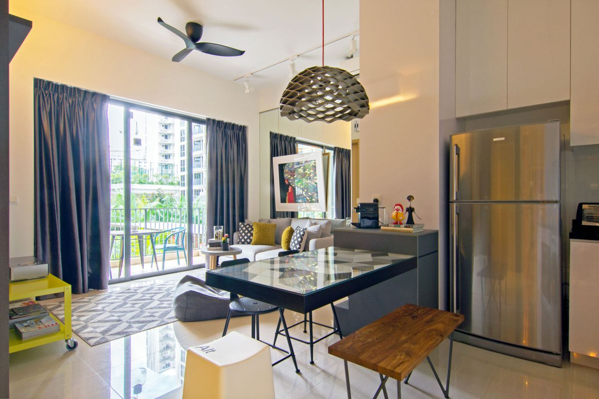 Artistic renovation of an eclectic apartment in singapore for Apartment renovation plans