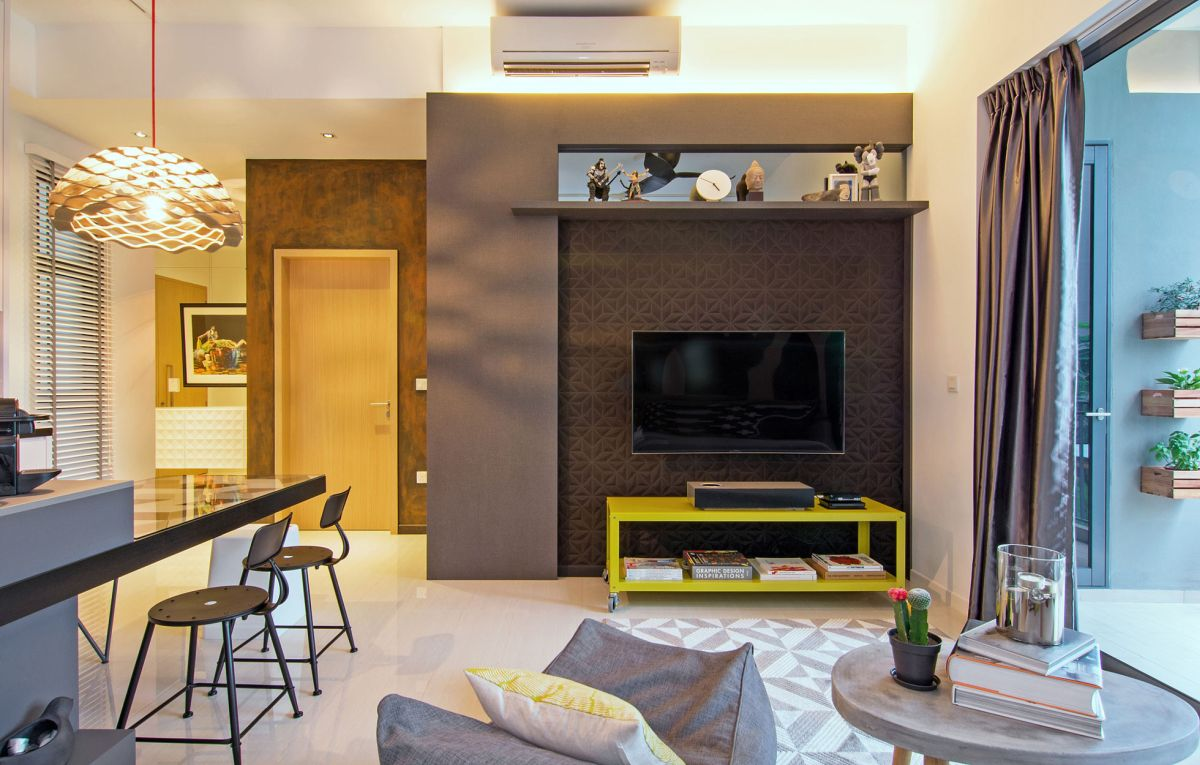 Singapore apartment renovation by KNQ lounge area TV wall