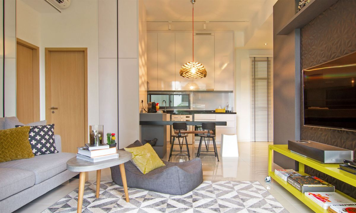 Singapore apartment renovation by KNQ lounge area and kitchen