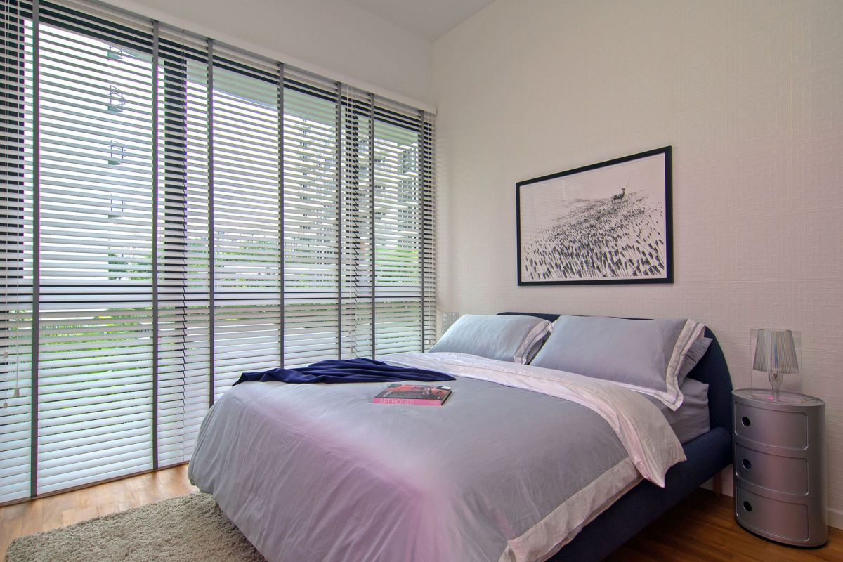 Singapore apartment renovation by KNQ main bedroom window blinds
