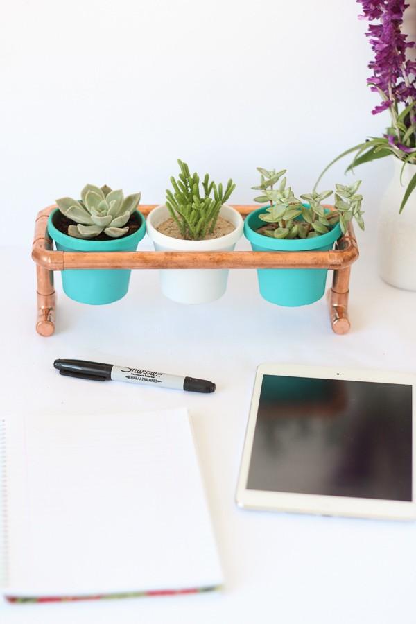 Small copper planter stand