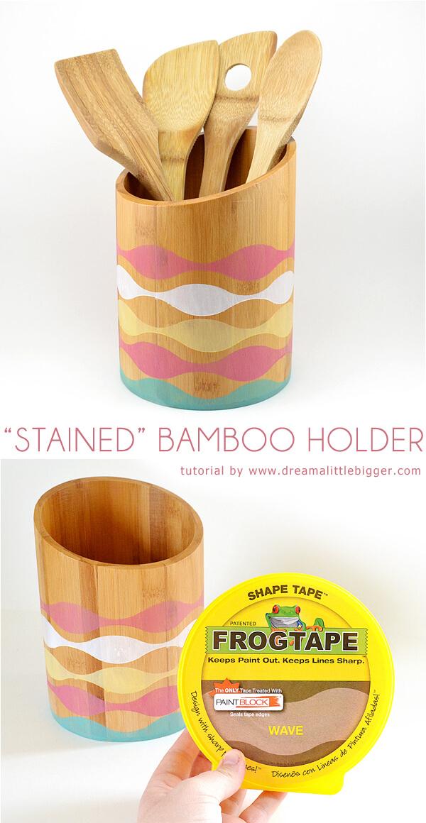 Stained bamboo utensil holder