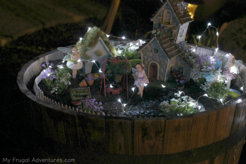 String lights fairy garden