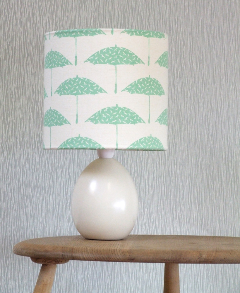 Table lamp with a mint shade