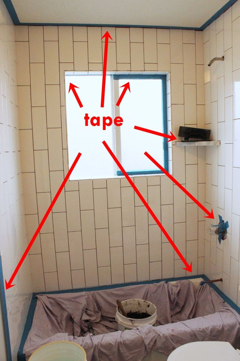Tape the faucet fixture