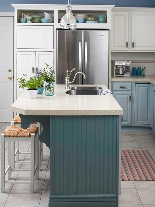 Teal color kitchen island