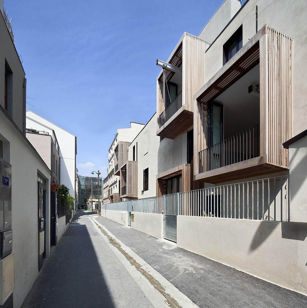 Tetris social housing and artist studios street balcony
