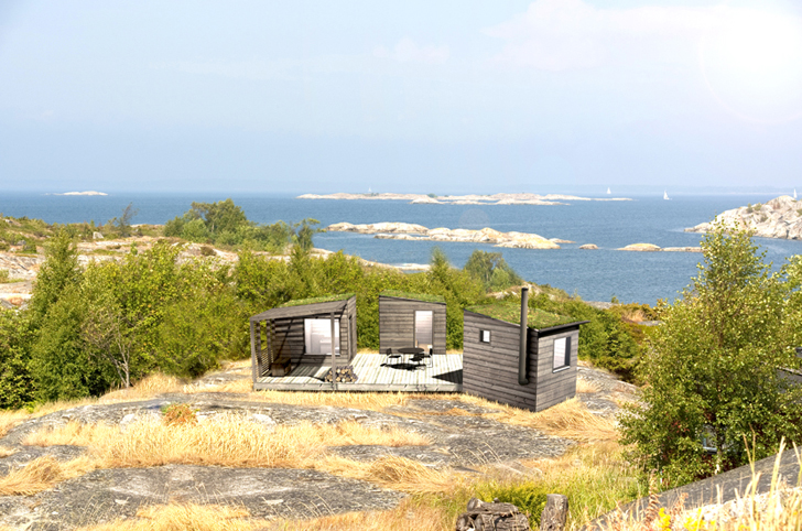 Tiny Green-Roofed Arjan Sauna beach
