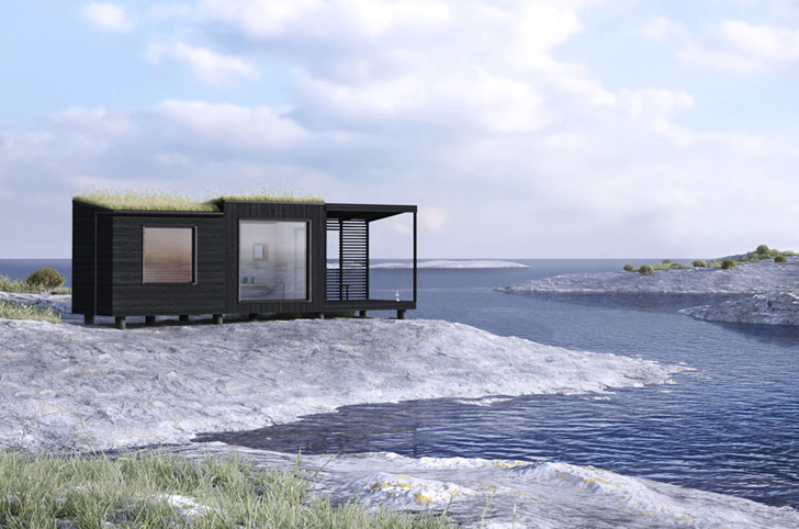 Tiny Green-Roofed Arjan Sauna design