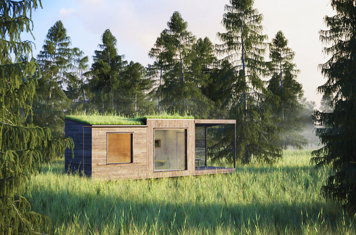 Tiny Green-Roofed Arjan Sauna