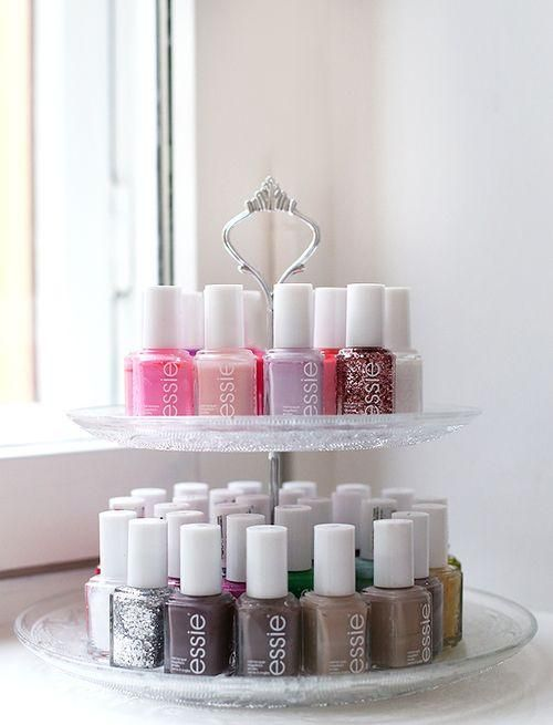 Tire cake stands to display nail polish
