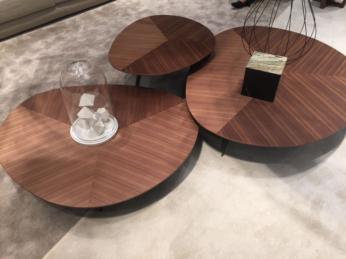 Trio walnut coffee table