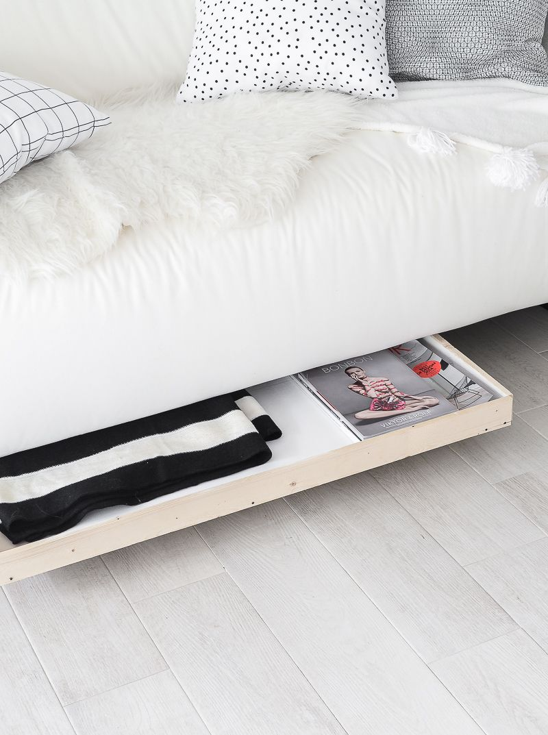 Undersofa Storage Drawer on Wheels