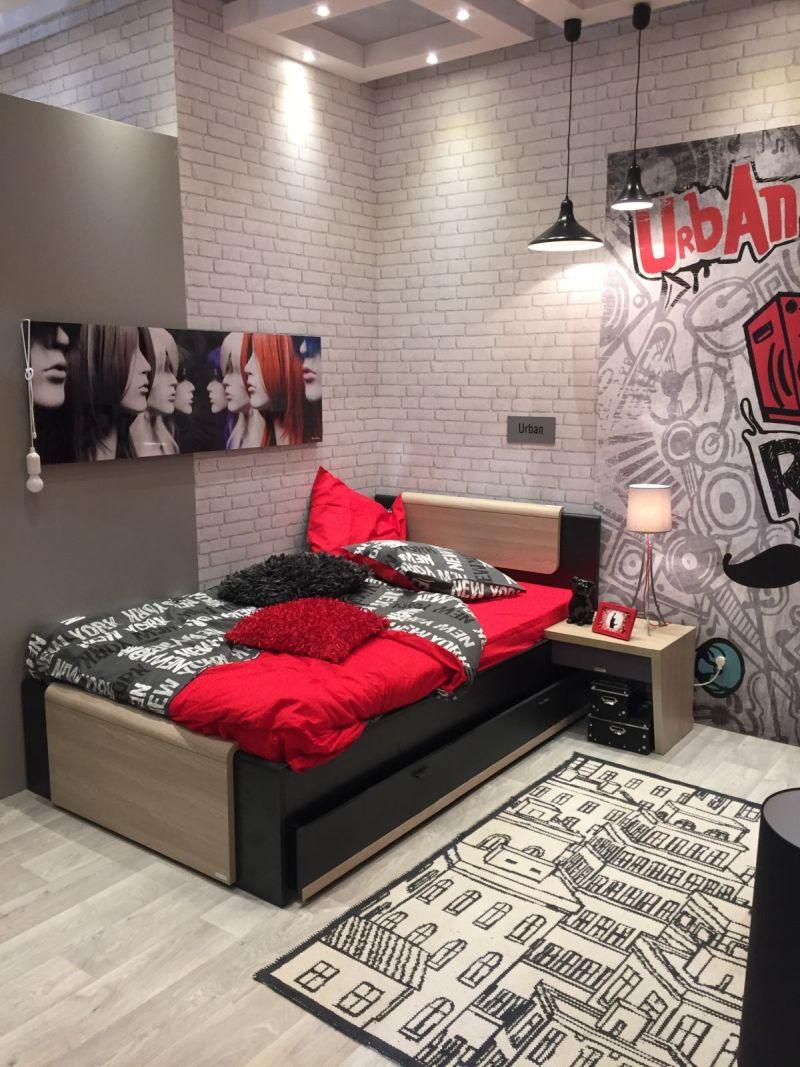 Urban teenage bedroom room in black and red