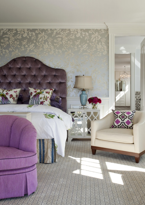 Velvet plum headboard design