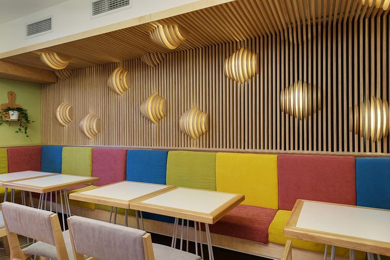 Wall lights shapped like croissants angle