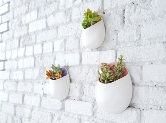 Wall planter white painted brick
