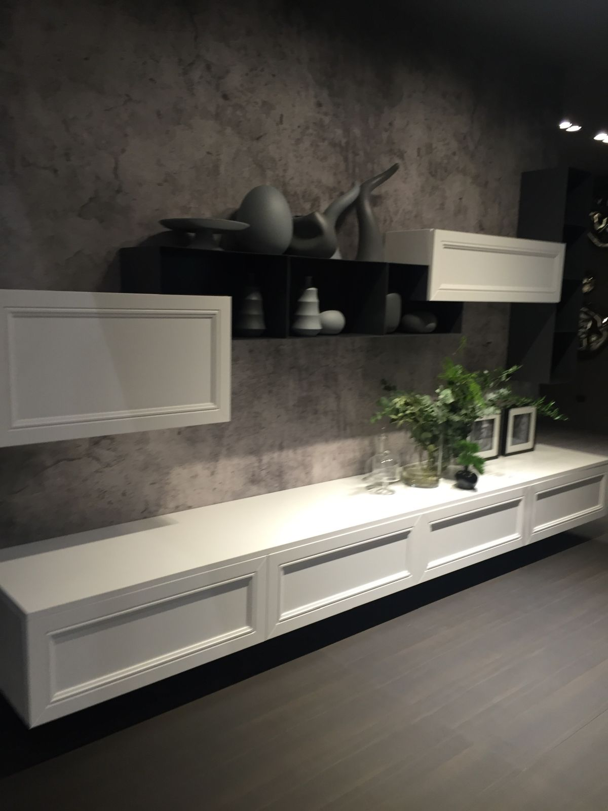 White and black media unit with open space shelves