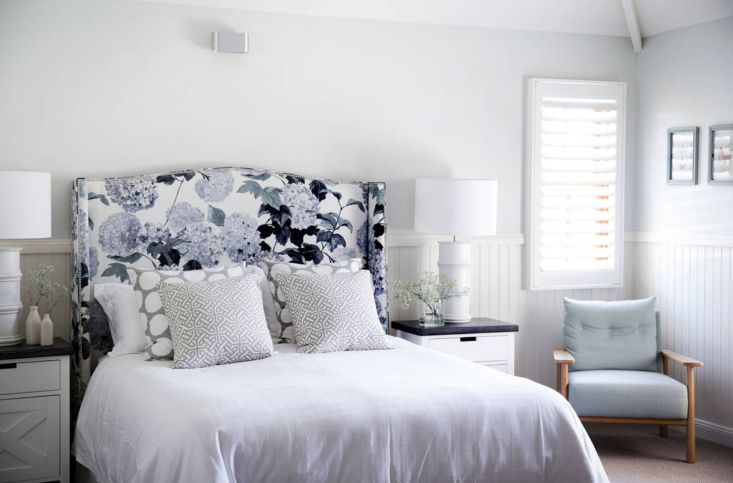 White and blue patterns for headboard