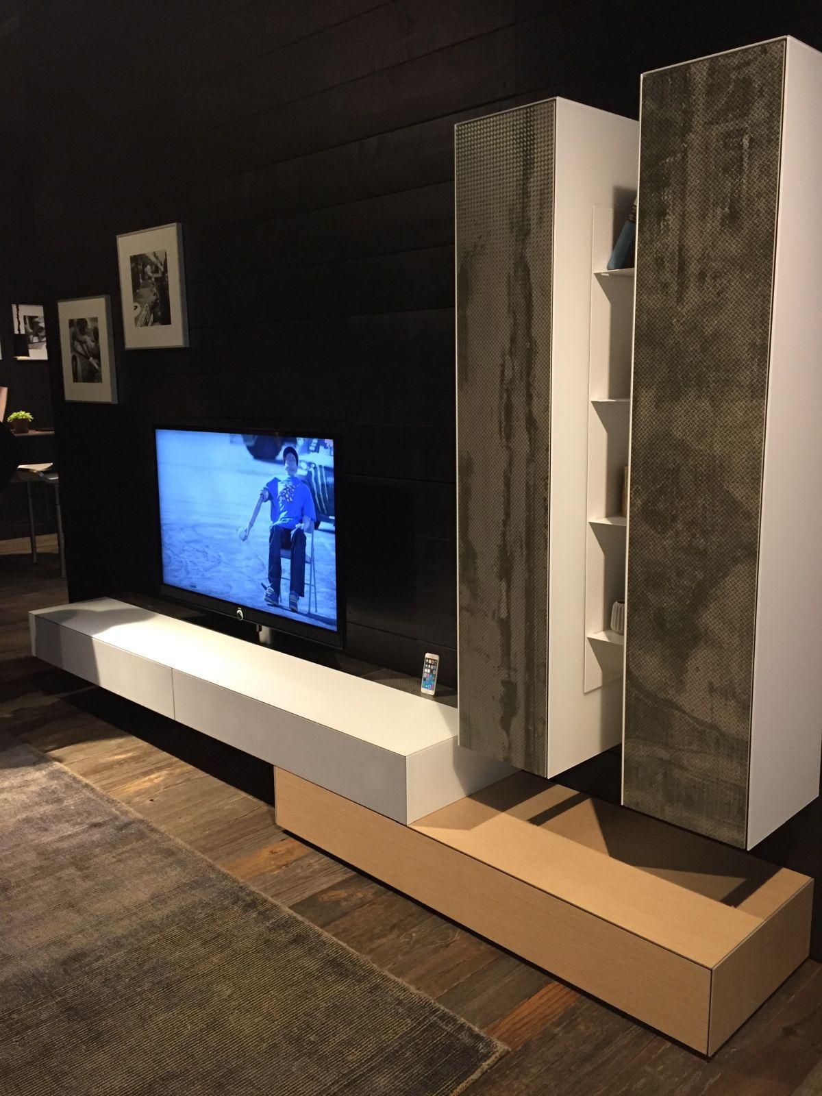 White and cream tv console with concrete accents