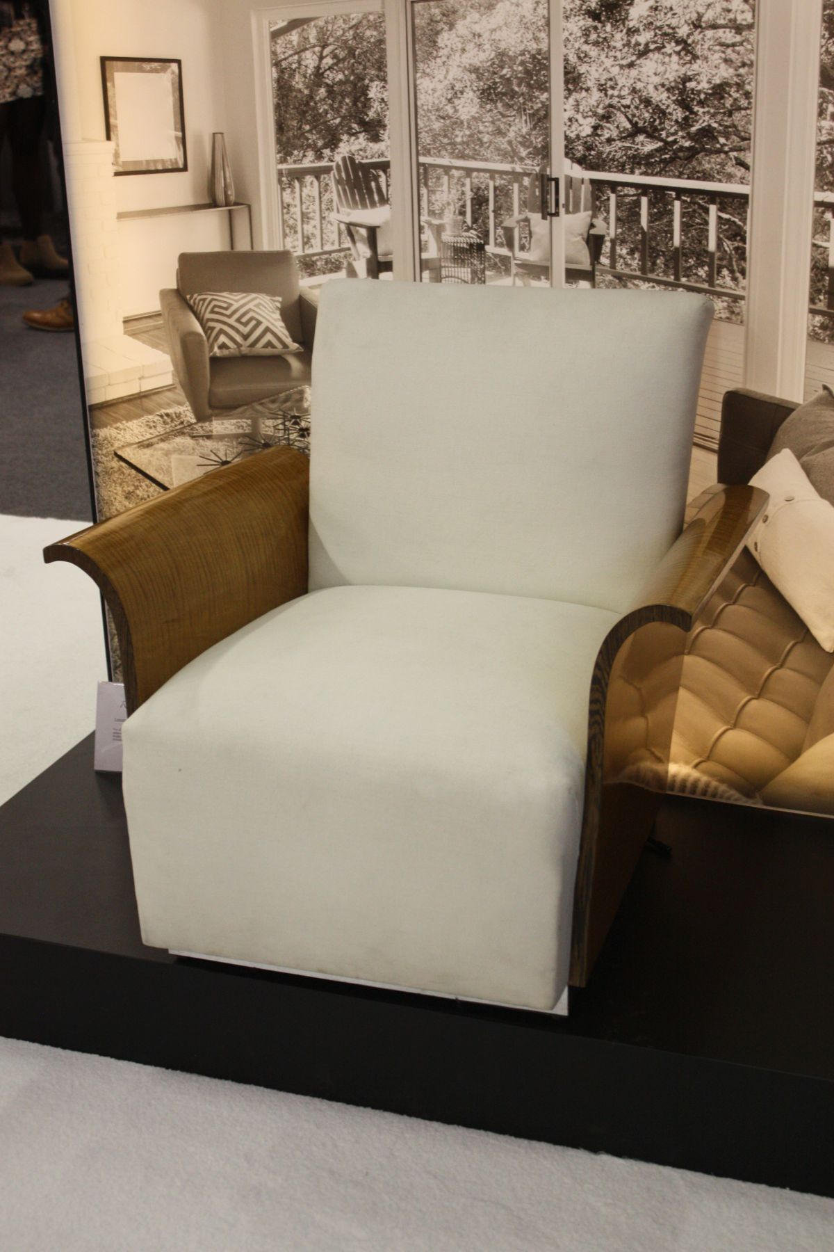 White chair with gold insertions