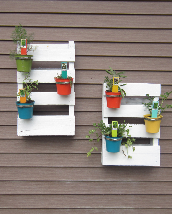 White painted pallet planter