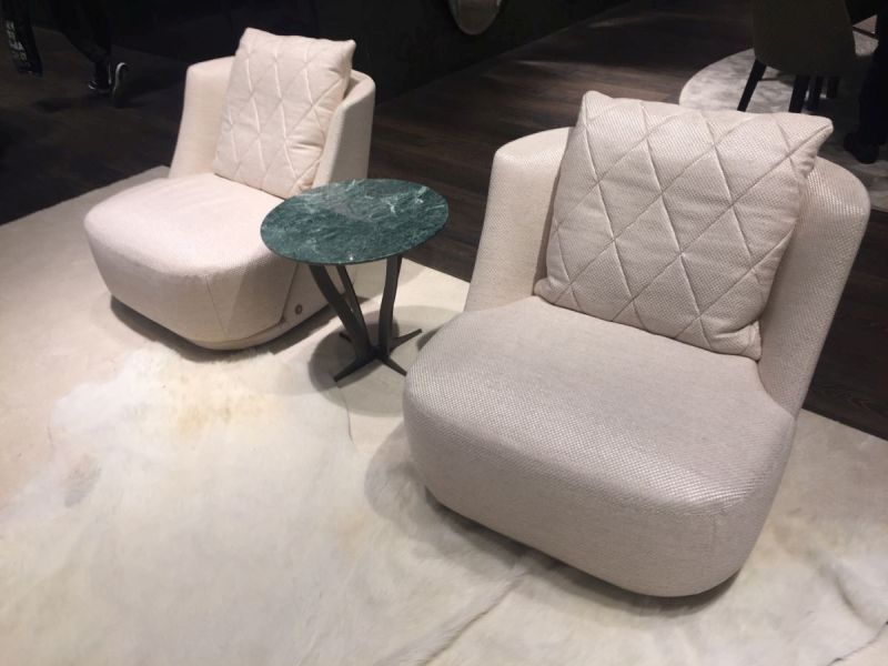 White textile pattern chairs for living