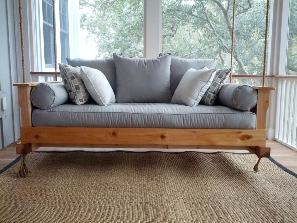Outdoor porch beds that will make nature naps worth it wooden porch swing bench solutioingenieria Gallery