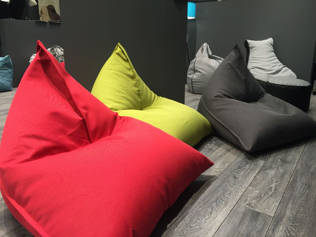 colorful beanbags -red green black