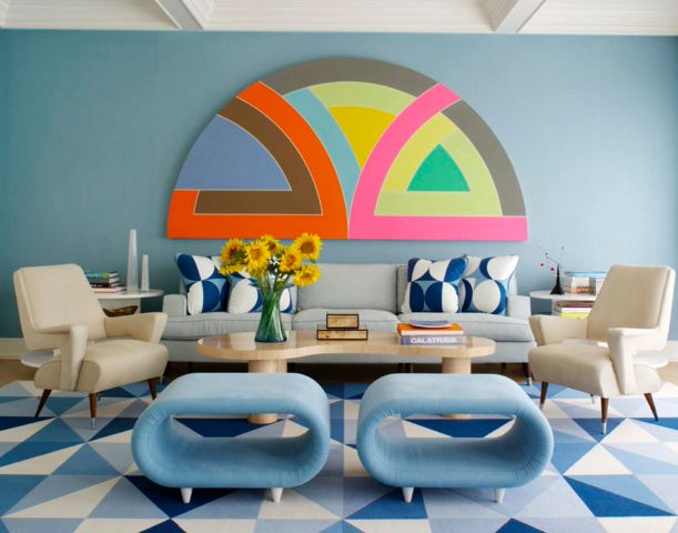 colorful living room with geometric patterns