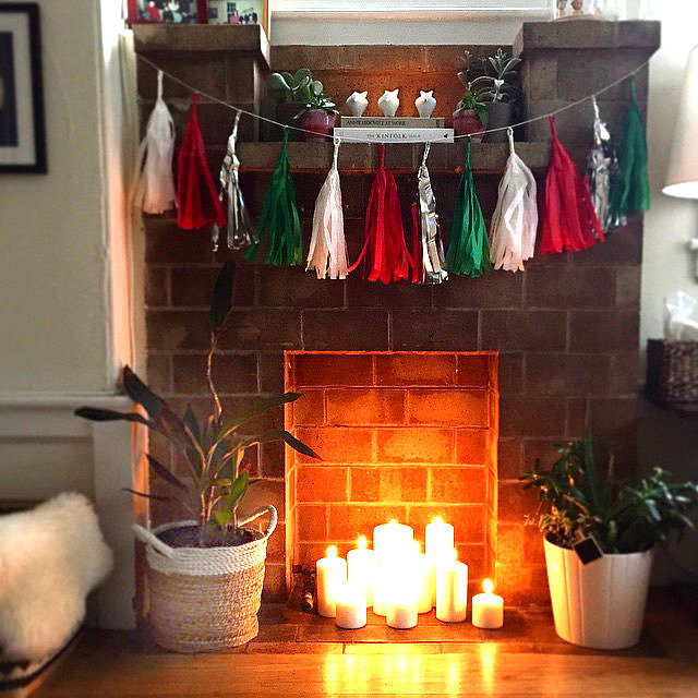 fill fireplace with candles