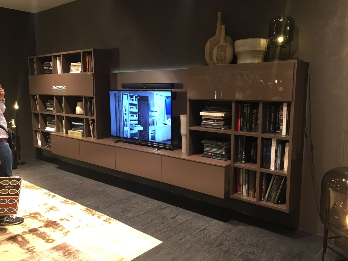 lacquered media console with storage systems