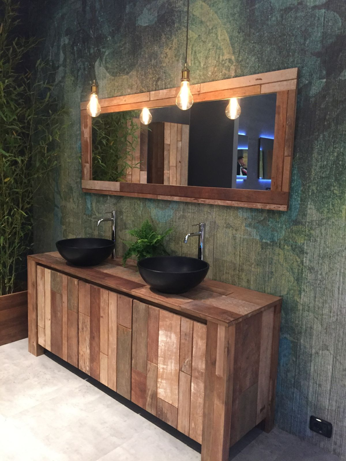 modern reclaimed wood vanity