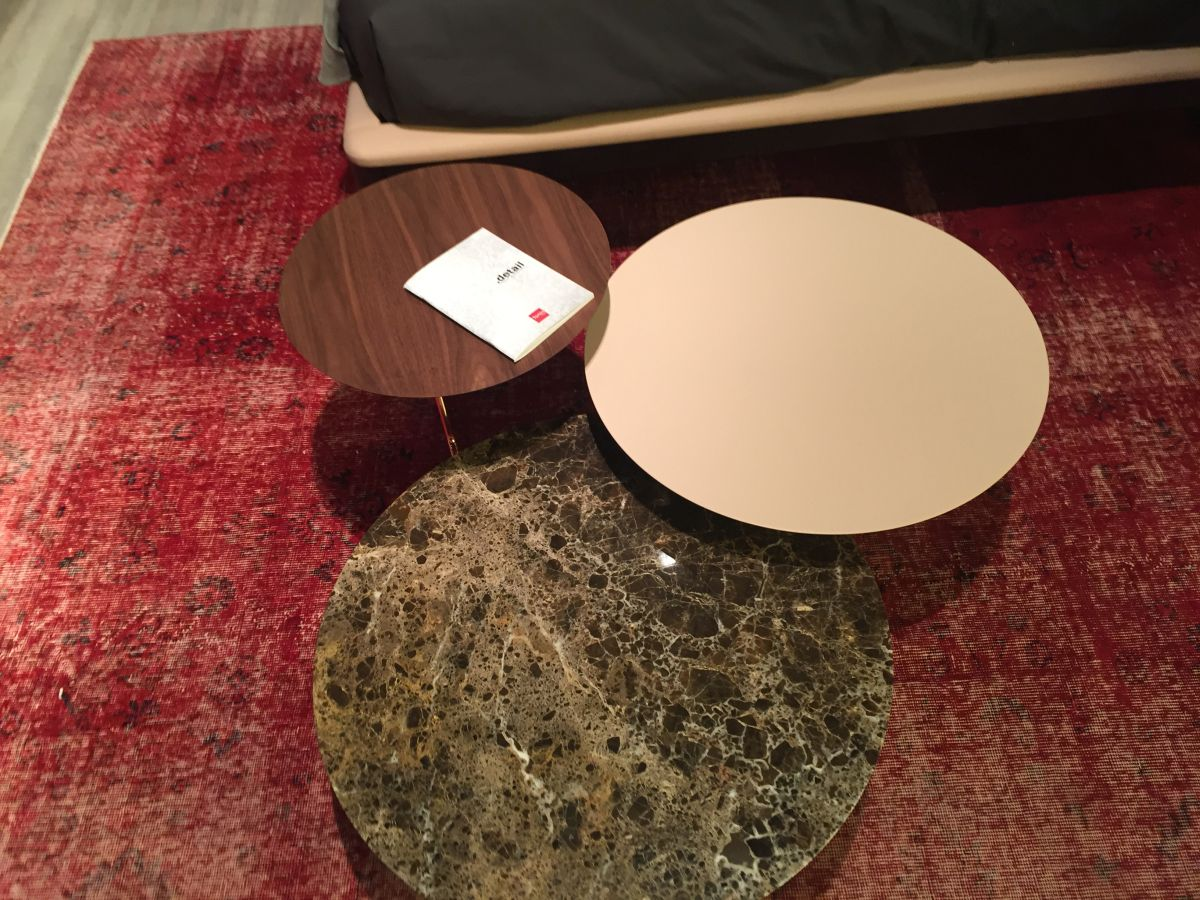round trio coffee tables with marble accents