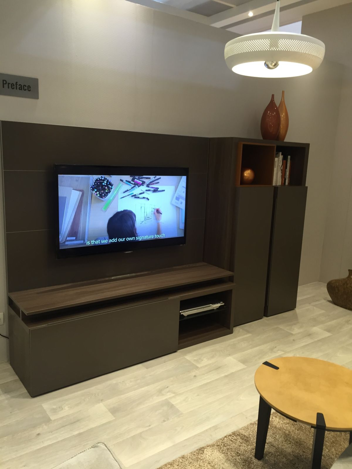small lacquered media unit with two tower console