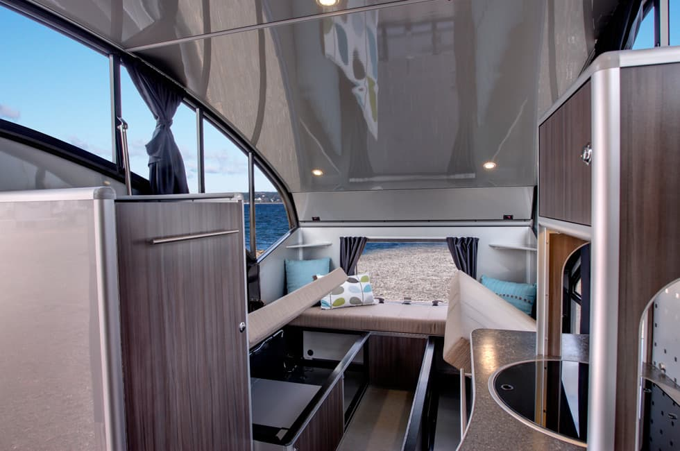 teardrop trailer transforms into a large family camper interior