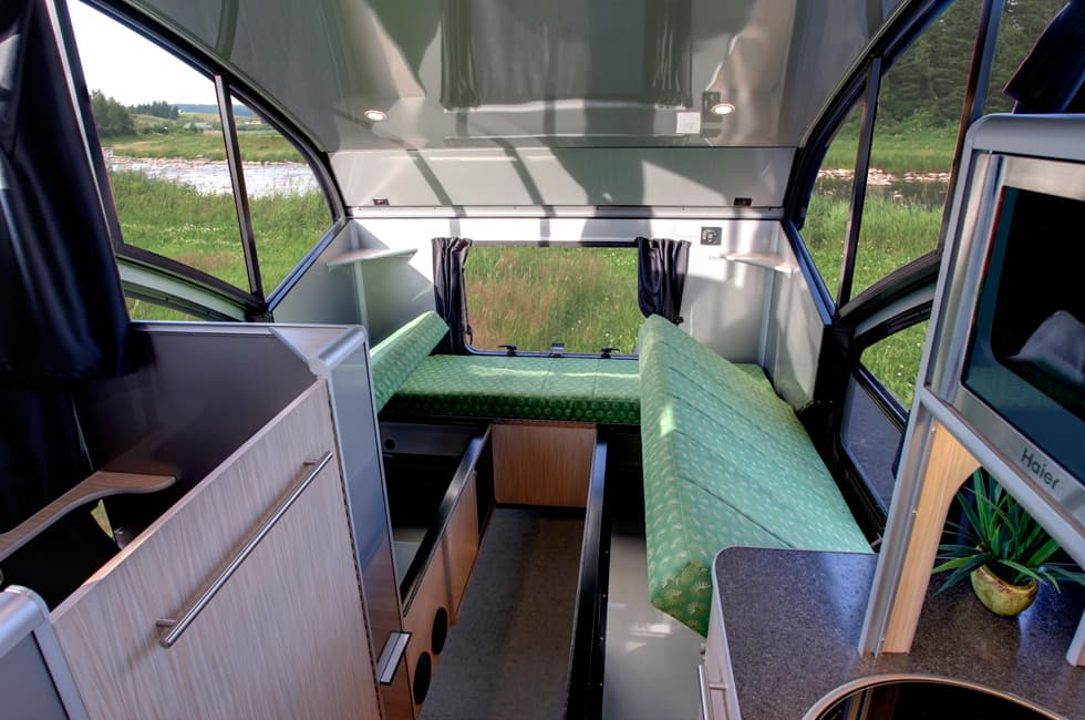 teardrop trailer transforms into a large family camper sofa