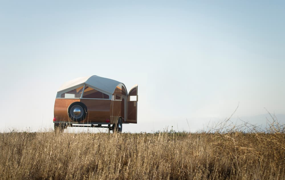 tiny teardrop trailer exterior