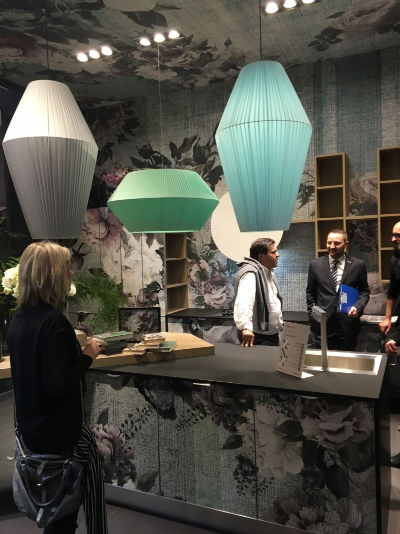 The Aran Kitchen booth was fun thanks to the fanciful floral prints on the cabinets, but these colorful lantern pendants were really eye-catching.