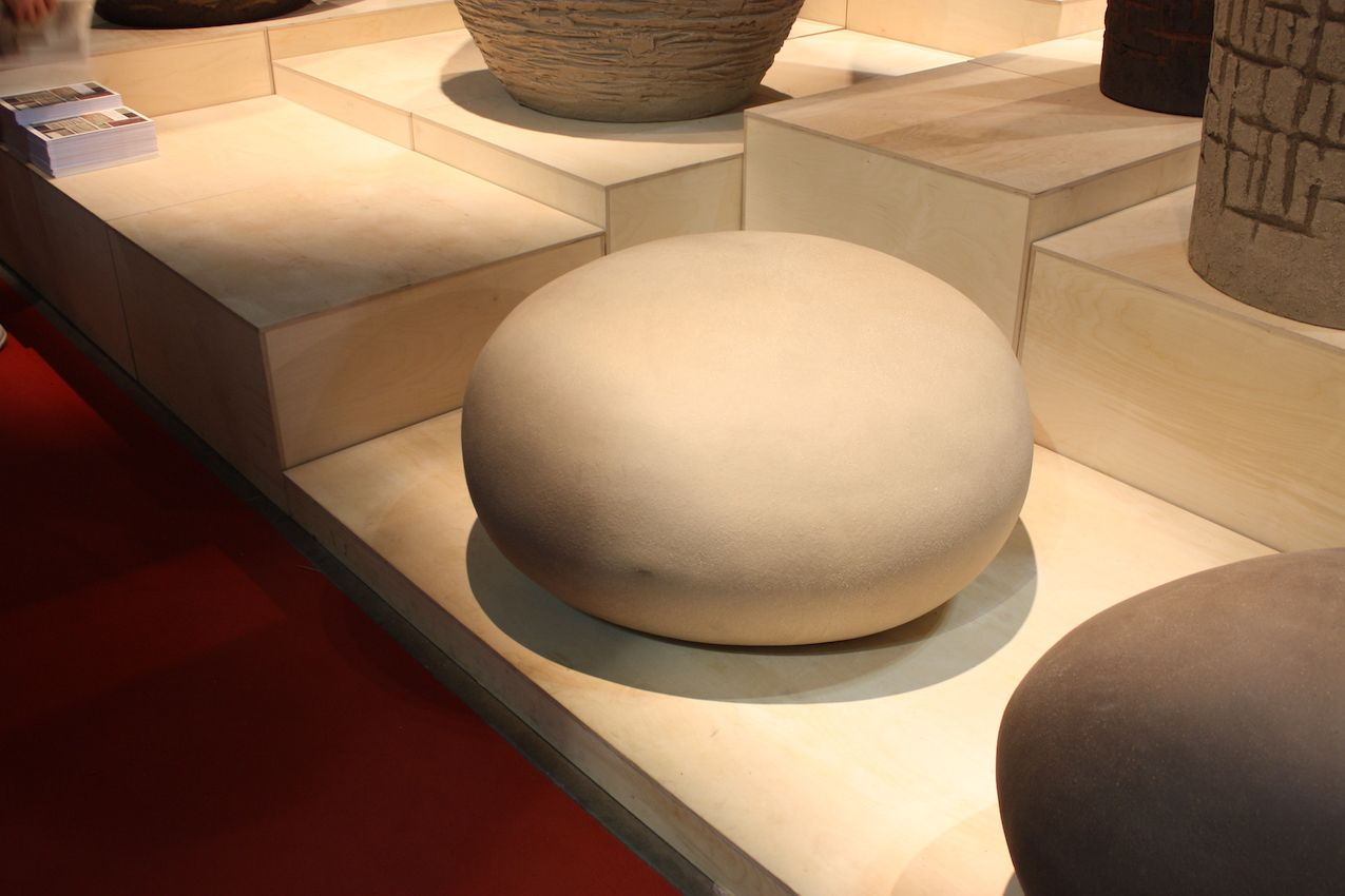 "These seating ""pebbles"" from Atelier Vierkant, a Belgian company, are made from hand-carved molds and a special German clay. They are sculptures as well as convenient outdoor seating. The natural look makes them perfect to place in a variety of natural settings."