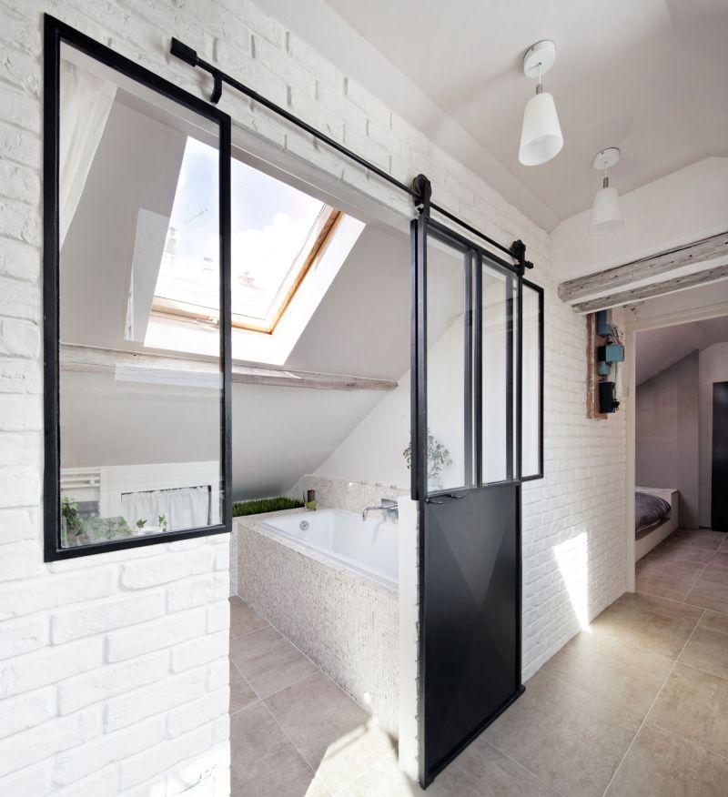 Attic apartment in France bathroom skyligh