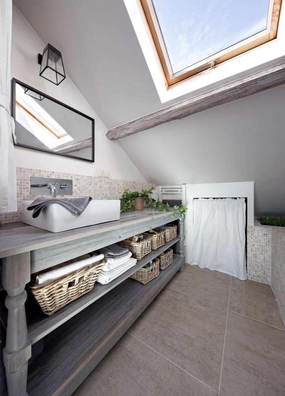 Attic apartment in France bathroom vanity